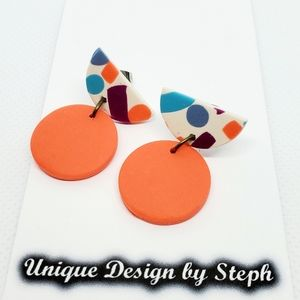 Handcrafted jewelry orange polymer clay earrings